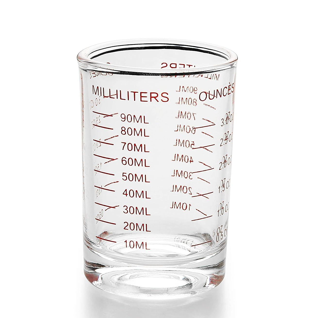 厄介なショート両方ショットグラス エスプレッソ 3oz/90ml 計量カップ 目盛り付き 厚み強化 耐熱ガラス製 お酒グラス ワイングラス エスプレッソマシン ショットグラスの測定カップショットグラス (1)