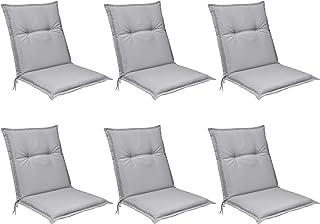 Beautissu Set de 6 Cojines para sillas de Exterior, tumbonas, mecedoras o Asientos con Respaldo bajo Base NL 100x50x6 Placas compactas de gomaespuma - Gris Claro