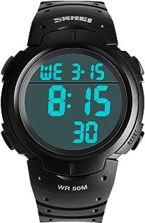 Men's Digital Sports Watches Military Waterproof LED Wristwatches Luminous Stopwatch Alarm Fashion Casual Electronics Watch Big Face Black