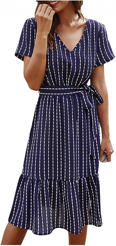 Xinantime Women's Stripe Print Dress Sexy V-Neck Short Sleeve Dress Ruffle Hem Knee-Length Dress Party Skirt with Belt