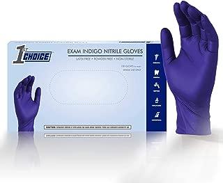 1st Choice 4 mil Exam Indigo Nitrile Gloves - Latex Free, Powder Free, Non-Sterile, 1EIN (Medium - Box of 100)