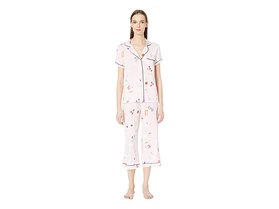 Kate Spade New York Jersey Cropped Pajama Set (Parisian Breakfast) Women