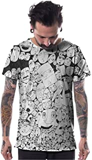 Mens Doodle Dee Doo T-Shirt Black on White Faces Graphic Print Urban Top
