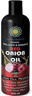 AYURVEDASHREE Red Onion Hair Oil For Hair Regrowth & Hair Fall with Black Seed Onion Oil, Pure Argan Oil, Sandalwood Oil, ...