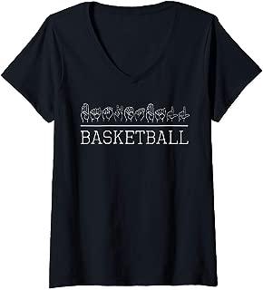 Womens Deaf Pride ASL Sign Language Basketball Sports Lover Fan V-Neck T-Shirt