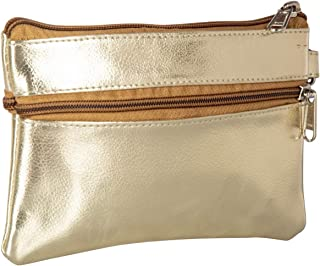 AspenLeather™ Wristlet Zipper Formal PU Leather Bag for Women, 3 Compartments Solid Pattern - Gold Color