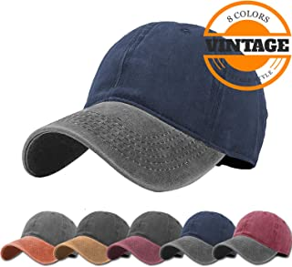 fb850239e2154 Unisex Vintage Washed Distressed Baseball-Cap Twill Adjustable Dad-Hat