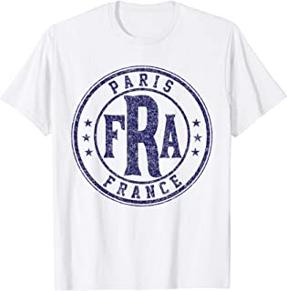 Paris FRA Circle Stars Distressed Navy Blue Print T-Shirt