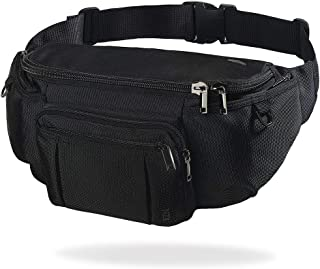 NZII Sports Fanny Pack for Men Women, Outdoor Waist Pack Bag with 6 Zipper Pockets, Super Capacity Bum Bag with Adjustable Belt for Traveling Hiking Cycling Workout Casual