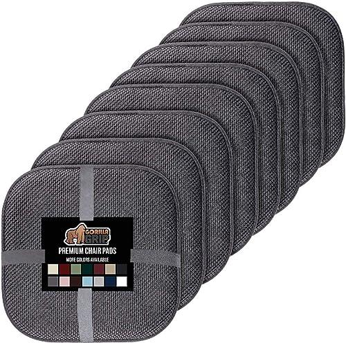 Gorilla Grip Original Premium Memory Foam Chair Cushions, 6 Pack, 16x16 Inch, Thick Comfortable Seat Cushion Pad, Lar...