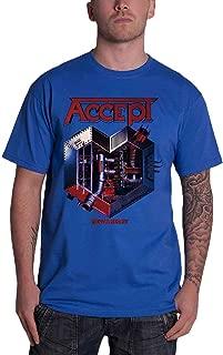Accept T Shirt Metal Heart Band Logo Official Mens Blue