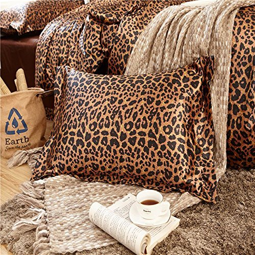 Awland Silk Pillowcase 2Pack Queen Size 19x29 Inch Pillow Cases Protectors Luxury Silk Satin Skin and Hair Beauty Sateen Bedding Sets Pillow Covers - Leopard