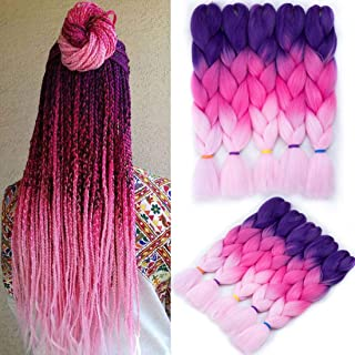 Liyate Jumbo Braiding Hair 24 Inch Crochet Hair Box Braids Ombre Kanekalon Braiding Hair Crochet Braids Synthetic Hair Extensions 5 Pcs/Lot 3 Tone Jumbo Hair for Braids (Purple-Pink-Light Pink)