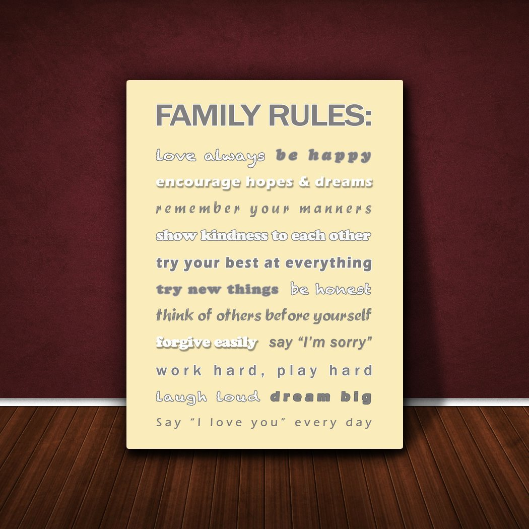 Feel Good Art Family Rules Gallery Wrapped Box Canvas with Solid Front Panel 91 x 60 x 4 cm, X-Large, Cream