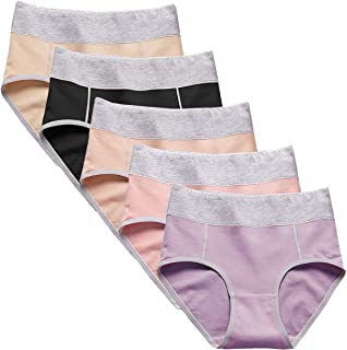 YaShaer 6 Pack Cotton Women's Underwear High Waist Solid Color C-Section Recovery Underpants Briefs
