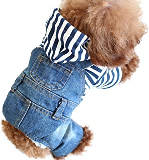 SILD Pet Denim Jumpsuit Dog Jeans Hoodies Cool Blue Coat Medium Small Dogs Classic Jacket Puppy Blue Vintage Washed Vests