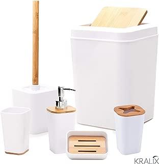 Kralix Bathroom Set 6 Pieces Plastic Bathroom Accessories Toothbrush Holder, Rinse Cup, Soap Dish, Hand Sanitizer Bottle, Waste Bin, Toilet Brush with Holder
