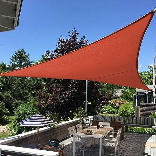 Shade&Beyond 16'x16'x16' Sun Shade Sail Triangle Canopy Rust Red Outdoor UV Sunshade Sail for Patio Yard Backyard Gar...