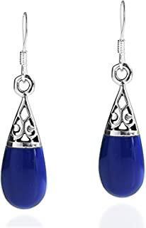 Filigree Swirl Teardrop Simulated Lapis-Lazuli Inlay .925 Sterling Silver Dangle Earrings