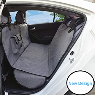 AMOFY Dog Car Seat Covers, Durable Ripstop, Reinforced Stitching, Waterproof, Scratch Proof, Non-Slip, Hammock Convertible Pet Seat Cover for Cars, SUV and Trucks