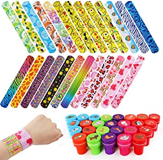 YIQIHAI 75pcs Slap Bracelets Party Favors with Colorful Emoji Animal Print Designs Retro Slap Bands and 26pcs Animal Stamps for Kids Adults Gifts