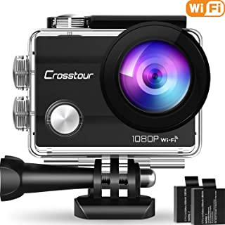 """Crosstour Action Camera Underwater Cam WiFi 1080P Full HD 12MP Waterproof 30m 2"""" LCD 170 Degree Wide-Angle Sports Camera with 2 Rechargeable 1050mAh Batteries and Mounting Accessory Kits"""