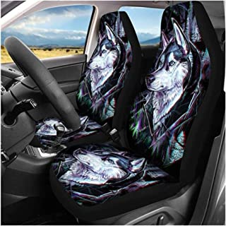 DKX 2pcs Front Automobile Car Seat Cover Protector Soft Universal Skull Pattern Wolf Print for Most Auto Cars SUV Truck (S...