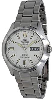 Orient RA-AB0F12S Men's Stainless Steel 3 Star White Dial Luminous Index Day Date Automatic Watch