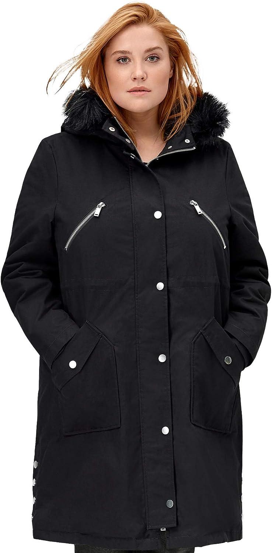 ellos Women's Plus Size Side-Snap Zip-Front Parka Coat