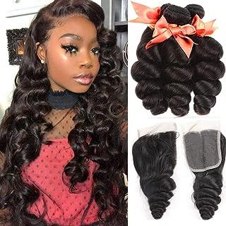 Brazilian Hair Loose Wave 3 Bundles with Closure Human Hair Bundles and 4