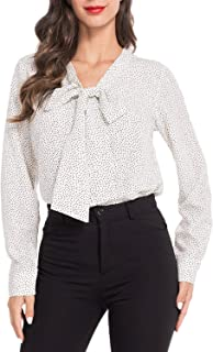 AUQCO Women's Chiffon Blouse Business Button Down Shirt for Work Casual with Long Sleeve