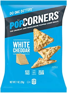 Popcorners White Cheddar Snack Pack, Gluten Free Chips, 1oz Bags (20 Pack)