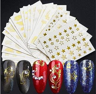20 piezas Transferencias de agua Nail Art Stickers Decals Girls Nail Art Design Gold Flower Nail Sticker Face Moon Star Nails Stickers