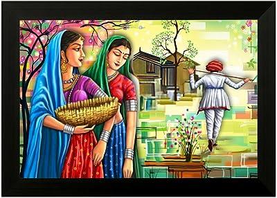 SAF Rajasthani 6550 FolkArt UV Textured Framed Art Print (35 x 50 x 2 cms)