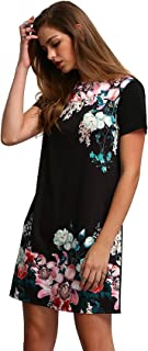 Women's Floral Print Short Sleeve Casual Top Shirt Dress