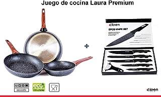 CLOEN Set de Cuchillos + 3 Sartenes de Aluminio con Revestimiento de mármol y Mango Suave de baquelita Efecto Madera, Medidas 20-24-28 cm. Set Laura by (Cuchillos Black Premium)