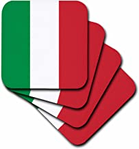 3dRose CST_158341_1 Flag of Italy Square Italian Green White Red Vertical Stripes European Europe World Travel Souvenir Soft Coasters, Set of 4