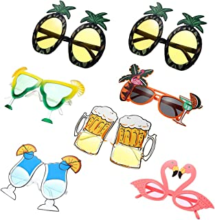 7 Pieces Hawaiian Tropical Sunglasses Funny Costume Sunglasses Novelty Party Sunglasses for Luau Summer Themed Party,Beach Fancy Dress Party Accessories