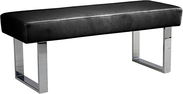 Armen Living LCAMBEBLBCH Amanda Bench In Black And Chrome Finish