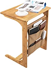 SONGMICS 100% Bamboo Wood TV Tray Removable Side/Snack/End/Couch/ Console Table Laptop Desk with Storage Bag for Bed Sofa Eating Writing Reading Living Room Natural