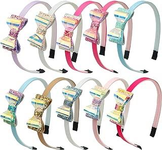 XIMA 10pcs Girls Glitter Bow Headband PVC Hair Bows...