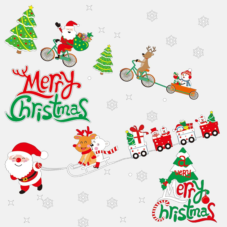 同時気をつけて初期のPAMASE 2枚セット メリークリスマス ウォールステッカー ツリー ステッカー サンタクロース 雪片 雪だるま 壁紙 シール 装飾 飾り インテリア 特大サイズ