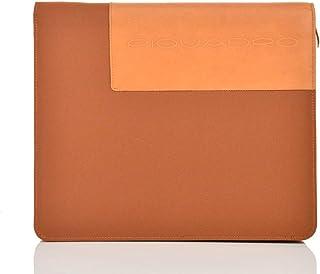 Piquadro Porta Blocco Pelle e Tessuto Uomo arancione Nuovo