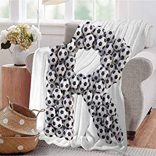 KFUTMD Soft Lightweight Blanket Soccer Themed Pattern Abstract Alphabet Design Uppercase Character R Sign Black and White Dorm Bed Baby Cot Traveling Picnic W70 xL84