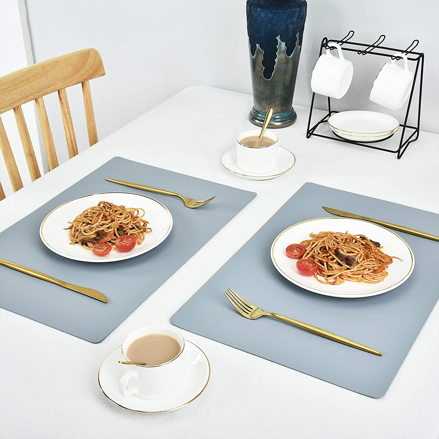 Dinging Home Kitchen Decor Black JTX Placemats for Dining Table Leather Placemats Set of 4 Easy Clean Heat /& Stain Resistant Non-Slip Washable Table Mats