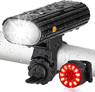 AUOPLUS Bike Lights USB Rechargeable, 800 Lumen Bike Headlight and Taillight Set, Super Bright...