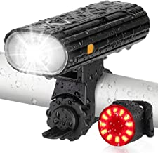 AUOPLUS Bike Lights USB Rechargeable, 800 Lumen Bike Headlight and Taillight Set, Super..