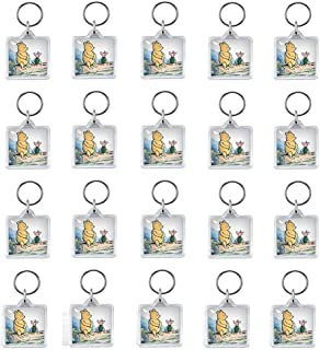 wonder X Clear Photo Frame Keychain Set - 20 PCs Square Shape Transparent Blank Acrylic Snap-in Personalised Picture Frame...