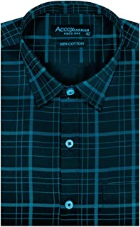 ACCOX Full Sleeves Checkered Formal Regular Fit Cotton Shirt for Men