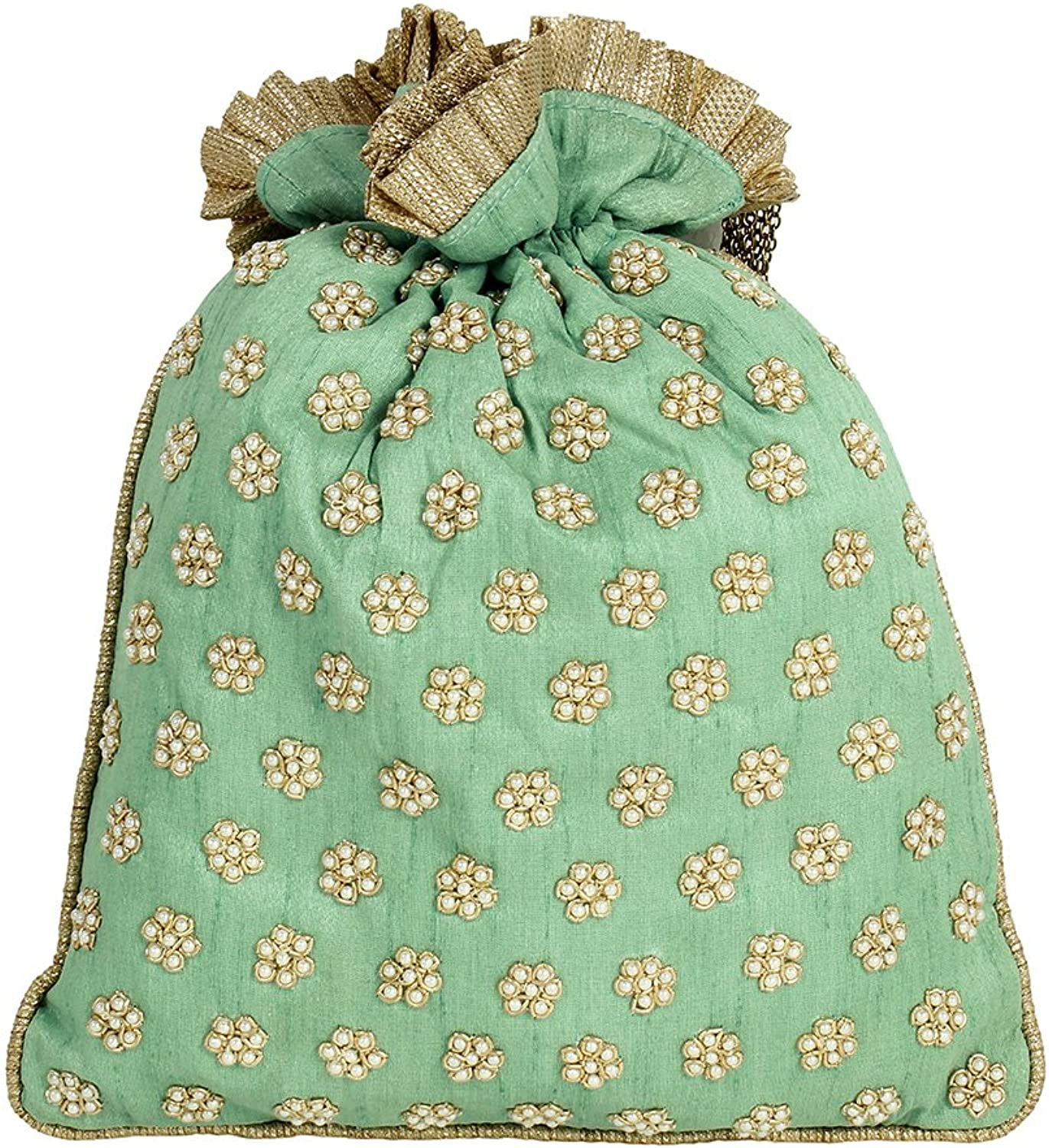 Purse Collection Embroidery Cyan Colour Potli Purse For Womens